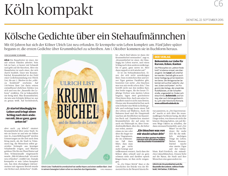Rheinische Post, 22.09.2015, Ulrich List - Buchbesprechung